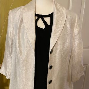 TanJay White Jacket 3 button 3/4 sleeves